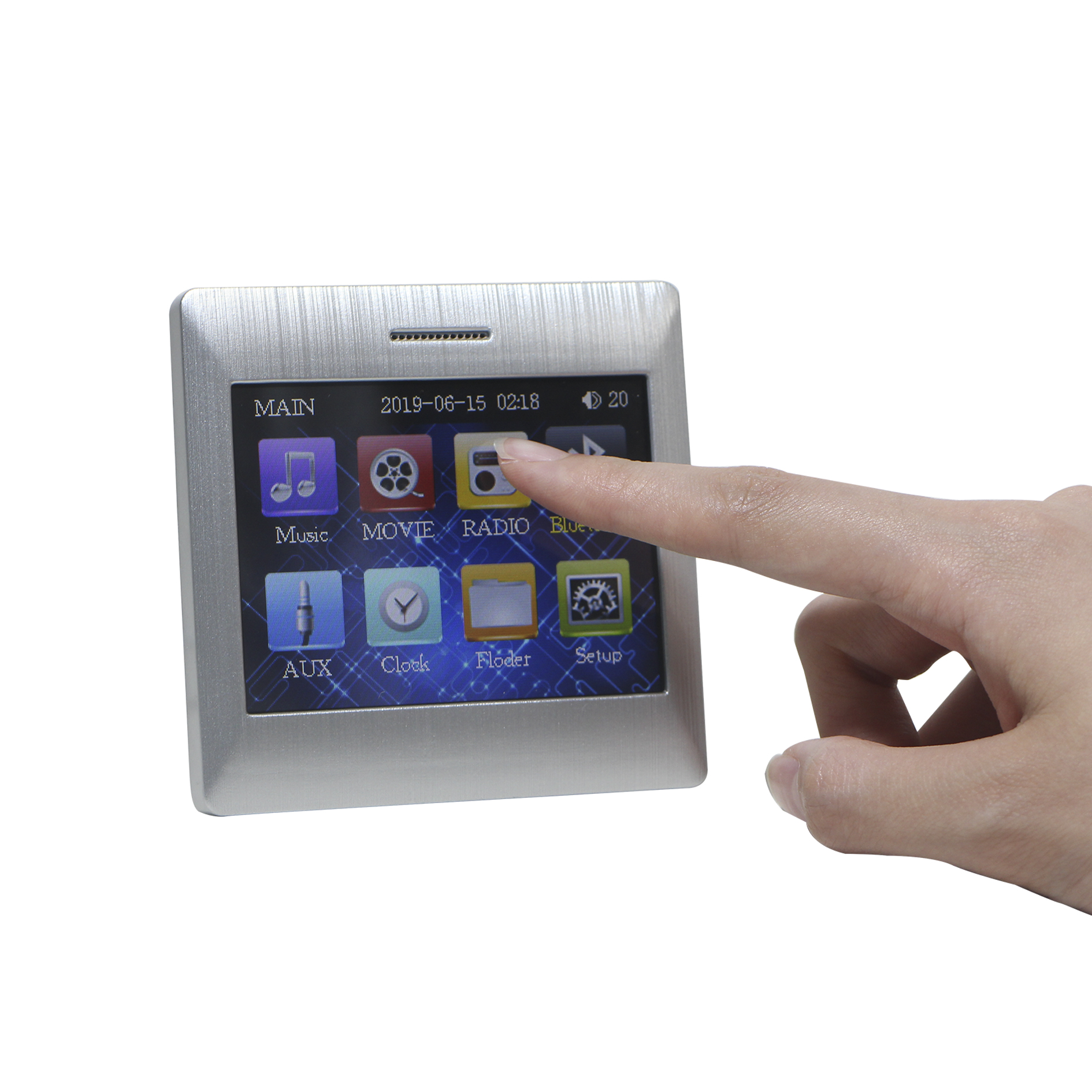 Touch Screen Bluetooth In Wall Audio Amplifier With Wireless Remote Control, Supports USB,SD,AUX,FM Radio,can Power 8 Speakers