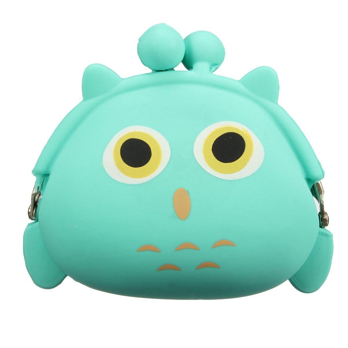 5) Women Girls Wallet Kawaii Cute Cartoon Animal Silicone Jelly Coin Bag Purse Kids Gift Owl