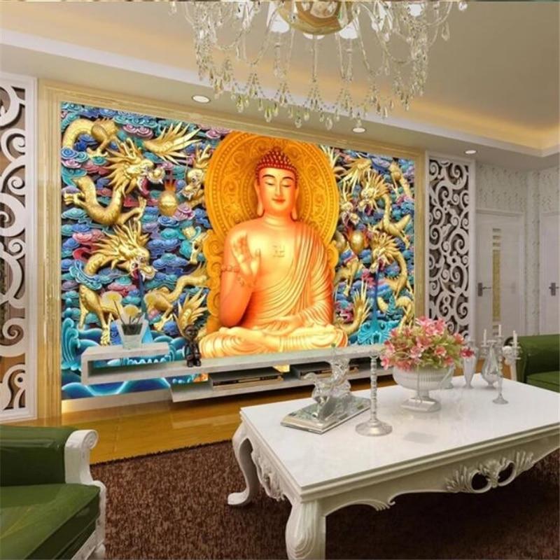 Papel pintado beibehang personalizado 3d mural de Buda en relieve de dragón dorado fondo de pared sala de estar dormitorio papel de pared