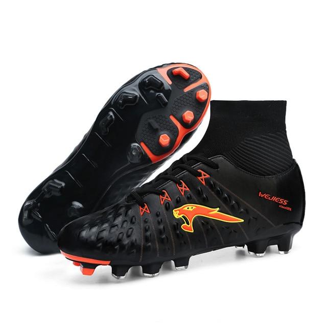 Chuteiras de futebol dos homens Adultos profissionais Sapatos de Alta  Tornozelo Tênis De Futsal FG Botas bc6f75bdd4d13