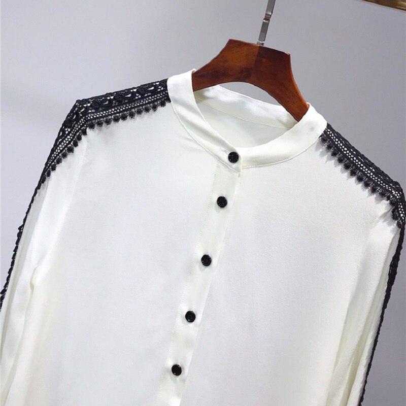 100% soie Blouse 2019 printemps été bureau chemises femmes noir dentelle Patchwork à manches longues élégant Blouse chemise femme hauts Blusas - 2