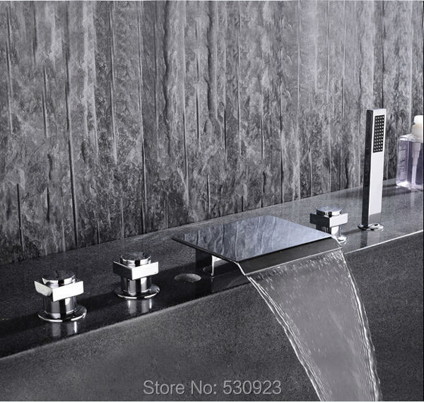 цены Newly 5Pcs Bathroom Tub Faucet Chrome Finished Bathtub Faucet With ABS Hand Shower Sprayer Shower Mixer Tap Deck Mounted