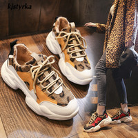 Kjstyrka 2019 new leopard mixed colors plush Fashion high quality women sneakers winter tenis feminino ladies wedges espadrilles