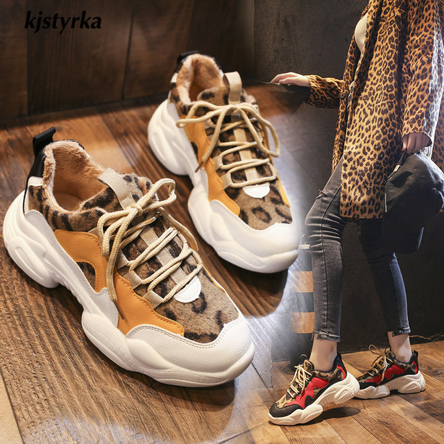 Kjstyrka 2019 novos leopardo cores misturadas plush Moda de alta qualidade as sapatilhas das mulheres inverno senhoras cunhas alpercatas tenis feminino