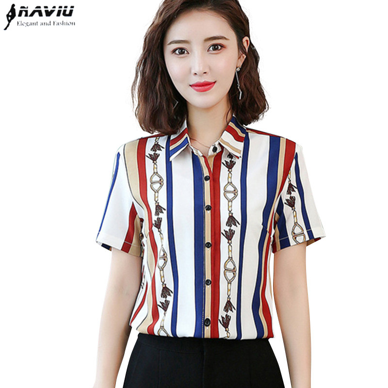 Fashion clothes womens blouses 2019 Summer New short sleeve  printed chiffon shirt office ladies temperament stripe slim topsBlouses & Shirts   -