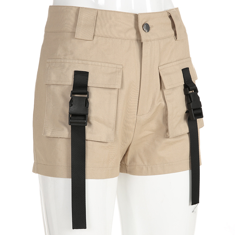HTB19P84bsfrK1RkSmLyq6xGApXa4 - Spring Summer High Waist Shorts With Buckle Ribbon Khaki Korean Street Style Cotton Short Feminino Cargo Shorts