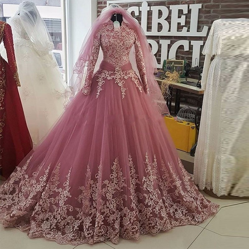 Muslim Wedding Dresses Dusty Pink Vestido De Noiva Robe De Mairee Lace Long Sleeves Bridal Dresses Wedding Gowns Sleeves