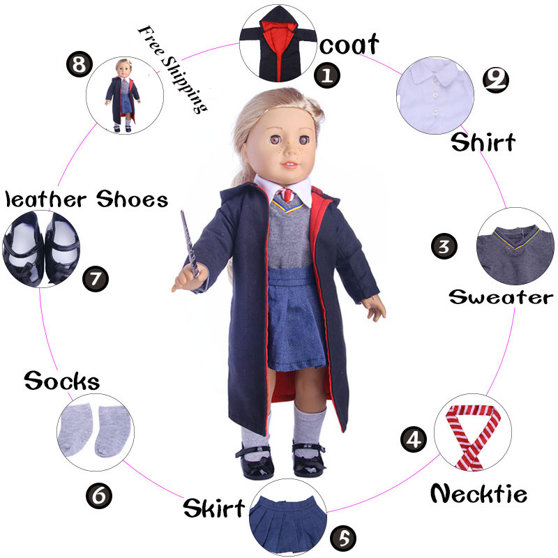 Free Shipping Doll Clothes Hogwarts School Magic 6Pcs Uniforms Shoes For 18 Inch American Doll&43 Cm Baby(Not Include The Wand)