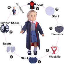 Free Shipping Doll Clothes Hogwarts School Magic 6Pcs Uniforms Shoes For 18 Inch American Doll&43 Cm Baby(Not Include the wand)(China)