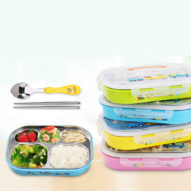 Hot Selling Children Lunch box Dishes Tableware Sets With Spoon Chopsticks Children Plate Assist Food Bowls Free Shipping
