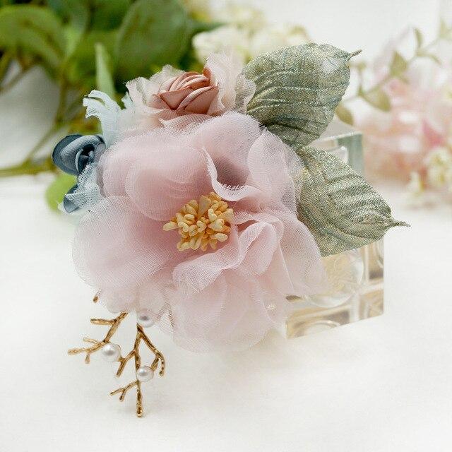 I-Remiel Ткань искусство цветок брошь классический костюм для женщин шарфы тканевый кардиган шарф лацкан булавка Сладкая мода аксессуары женские