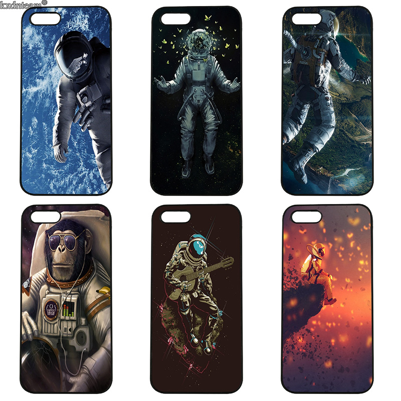 Spaceship Astronaut Style Cell Phone Case Hard PC Cover Fitted for iphone 8 7 6 6S Plus X 5S 5C 5 SE 4 4S iPod Touch 4 5 6 Shell