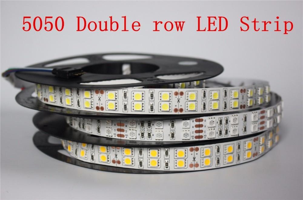 Tira conduzida 5050 120 led/m dc12v flexível led luz dupla fileira 5050 tira conduzida 5 m/lote não impermeável ip20