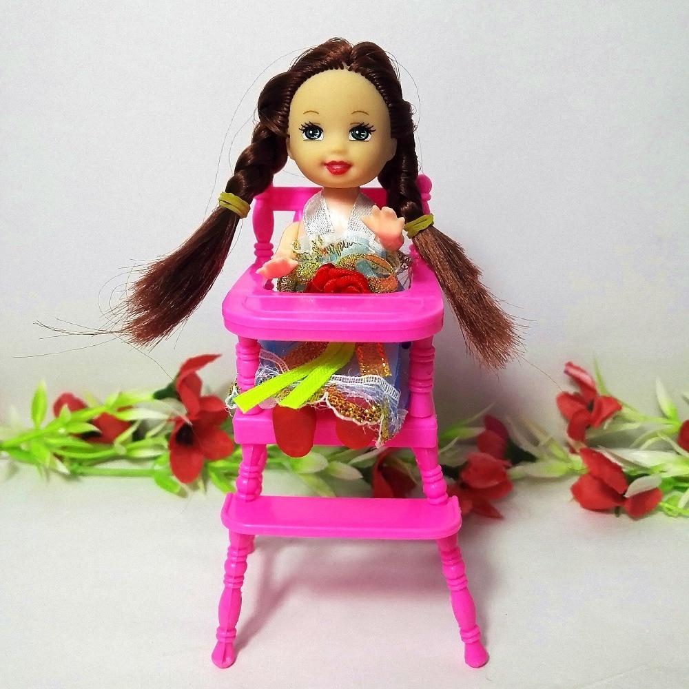 Модни аксесоари за кукли Пластмасови стол за трапезария за Кели Кукла 1/12 за деца Играйте Къща Dollhouse Играчки за Барби момиче подарък