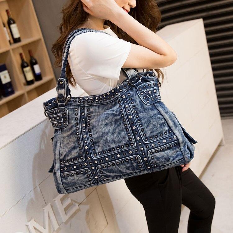 Diseño Vintage moda Denim Mujer bolso Jeans bolsos de hombro niñas bolsos bandolera mujeres bolsos de mensajero 467-in Bolsos de hombro from Maletas y bolsas    1