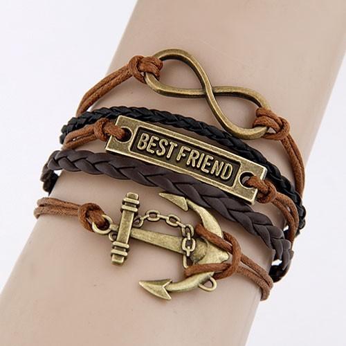 Leather Charm Bracelet-brown-brass