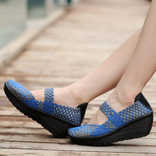 Women's Fashion Mary Jane Platform Shoes Summer Woven Casual Shoes Leisure Knited Wedge Shoes for Ladies все цены