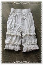 Pantalones cortos clásicos de Lolita blanca, bombachos de Lolita con volantes de Infanta