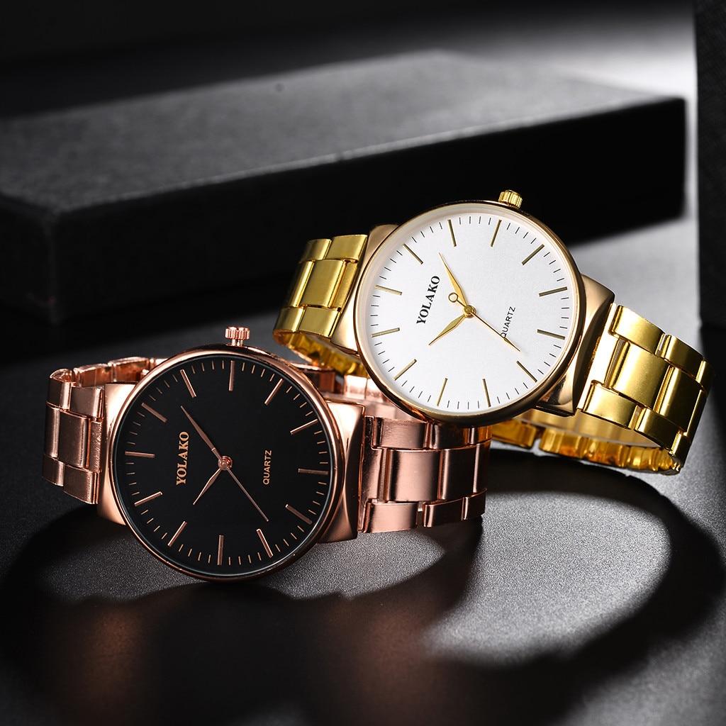 Men Watches YOLAKO Quartz Stainless Steel Band Newv Strap Analog Wrist Watch Erkek Kol Saati Relojes Para Hombre 2019