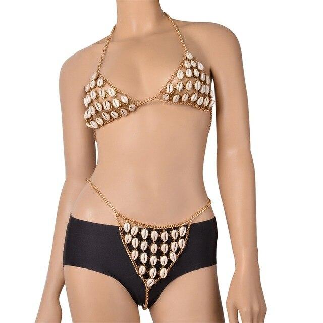 524327f21fcb Verano playa Sexy multicapa Shell Sujetador de Bikini cadena Bralette cuerpo  cadenas ropa interior de Color