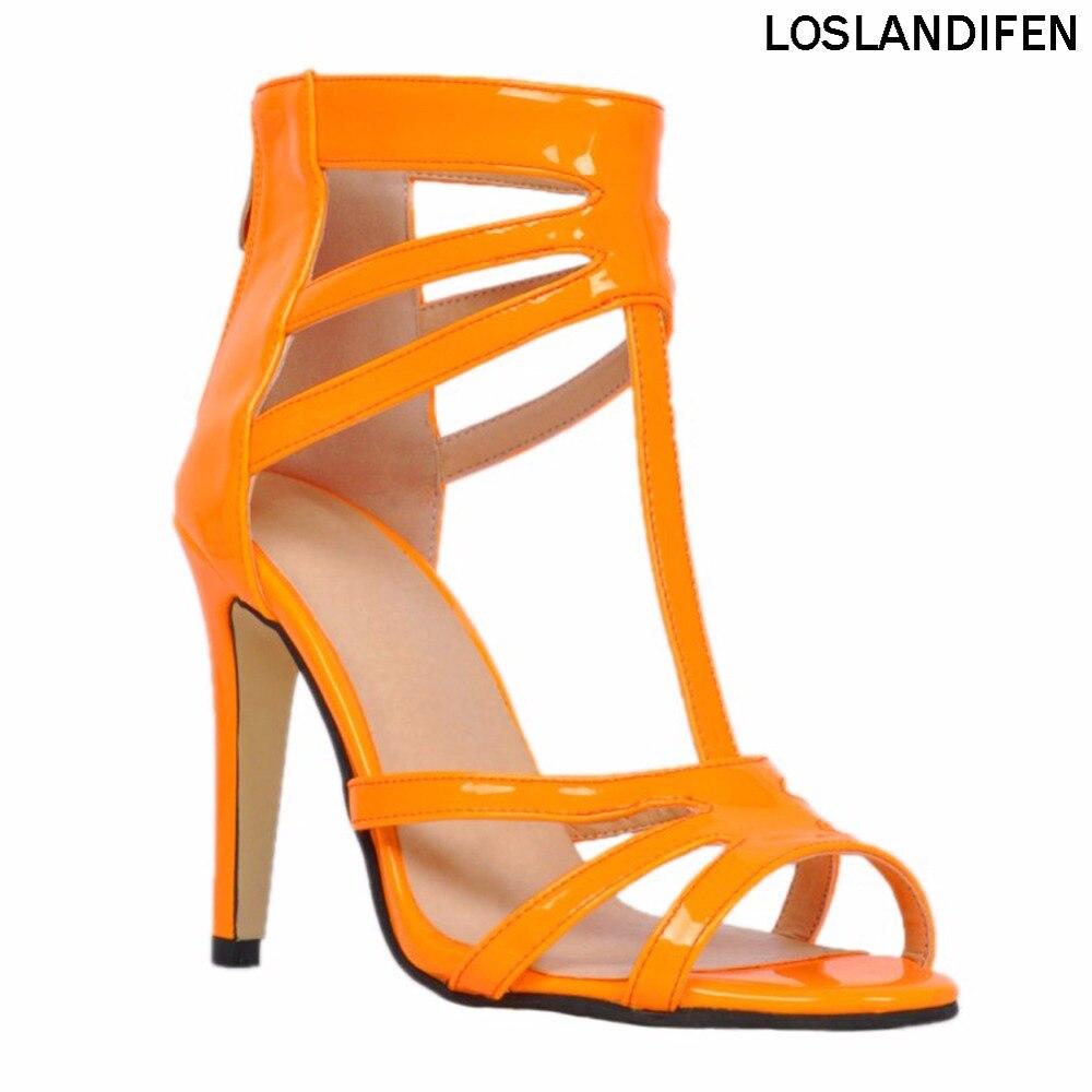 Sandalias de tacón alto hechas a mano de charol peep-toe de charol de 11 cm de moda para mujer XD038