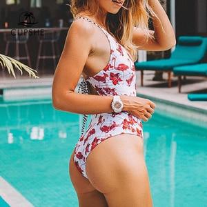 Image 4 - CUPSHE פלמינגו משלוח לטוס הדפסת מקשה אחת בגד ים נשים העמוק V צוואר חזרה מגזרת בגד גוף Monokini 2020 ילדה סקסי בגדי ים
