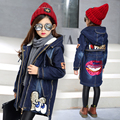 fleece thick jeans teenage little girls jacket autumn winter 2017 new blue sequin lips character ong denim jackets for girls