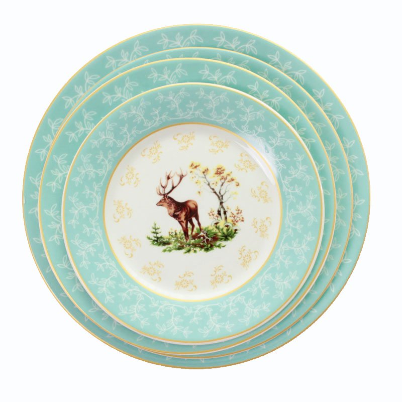 Ceramic Steak Plate Porcelain Round Tray Hand-Painted Dish Illustration Restaurant Dinnerware Set Edible Elk Dinner Tray 1pcs