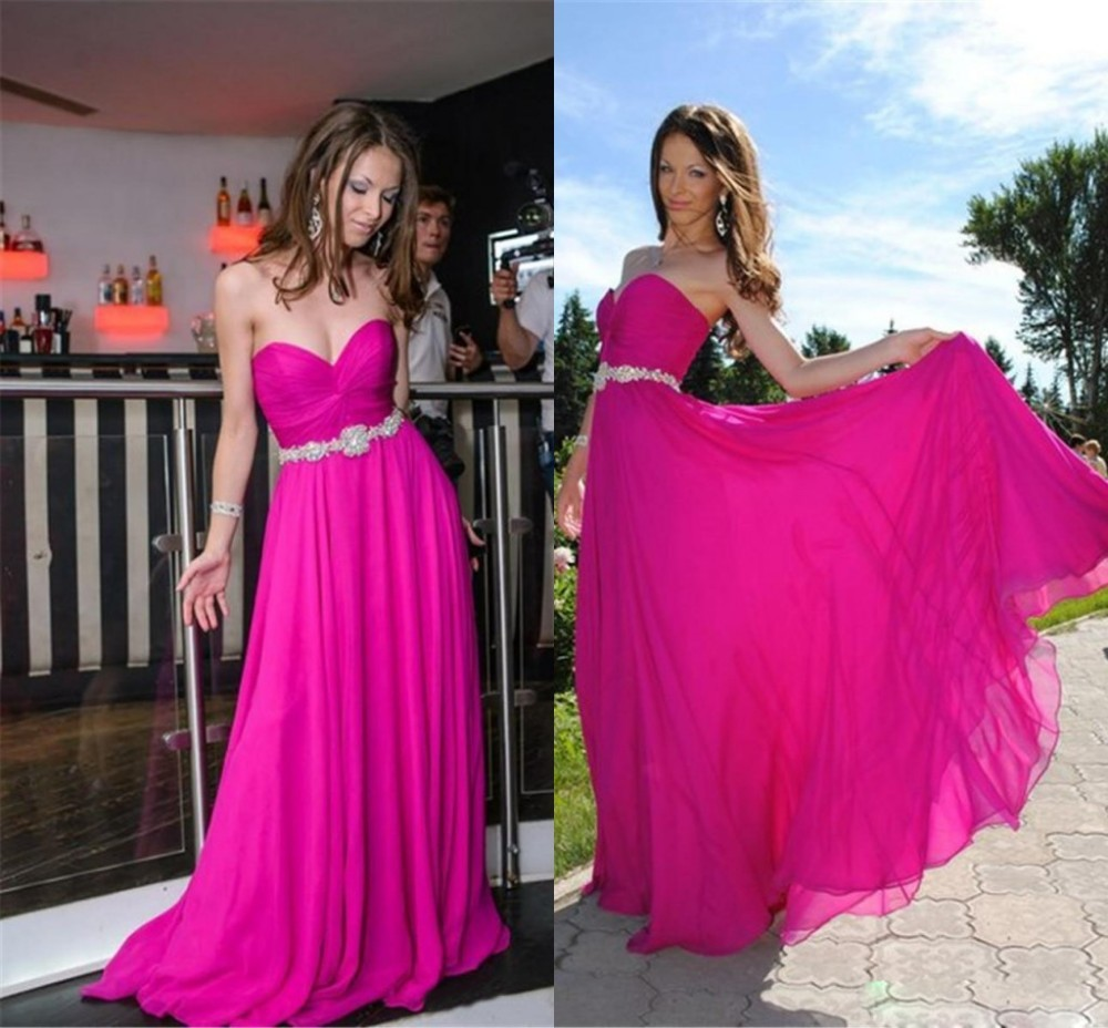 Hot Pink Sweetheart Long Prom Dress Cheap Party Gowns Formal Dresses ...