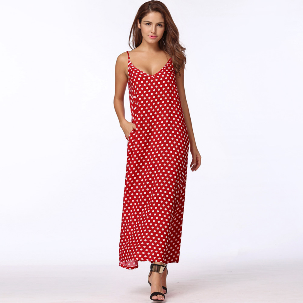 2018 summer women polka dots dress v neck sleeveless loose