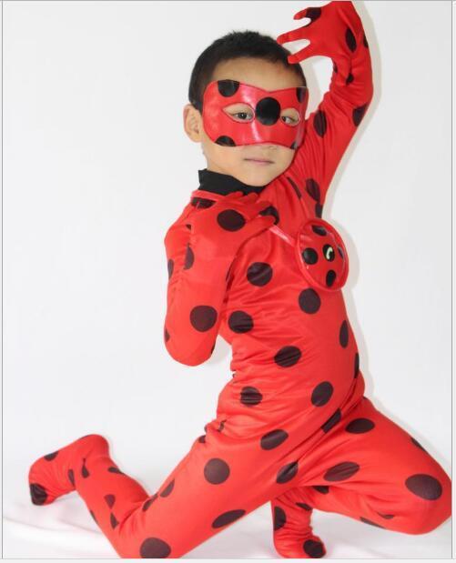 Nuevo 2017 Niño Mariquita Spandex Lycra Zentai Traje de Halloween Completo Niñas Mariquita Cosplay