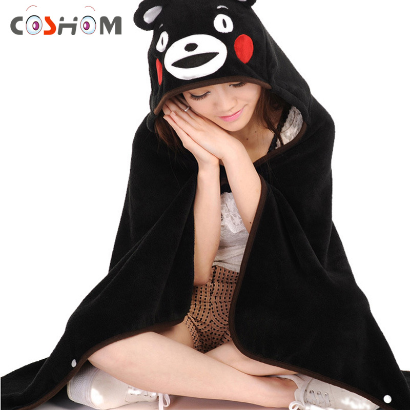 Coshome Kumamon Cosplay Pajamas Mascot Costumes Men And Women Flannel Sleepwears Adult Black Bear Cute Leotards Sleepsuits