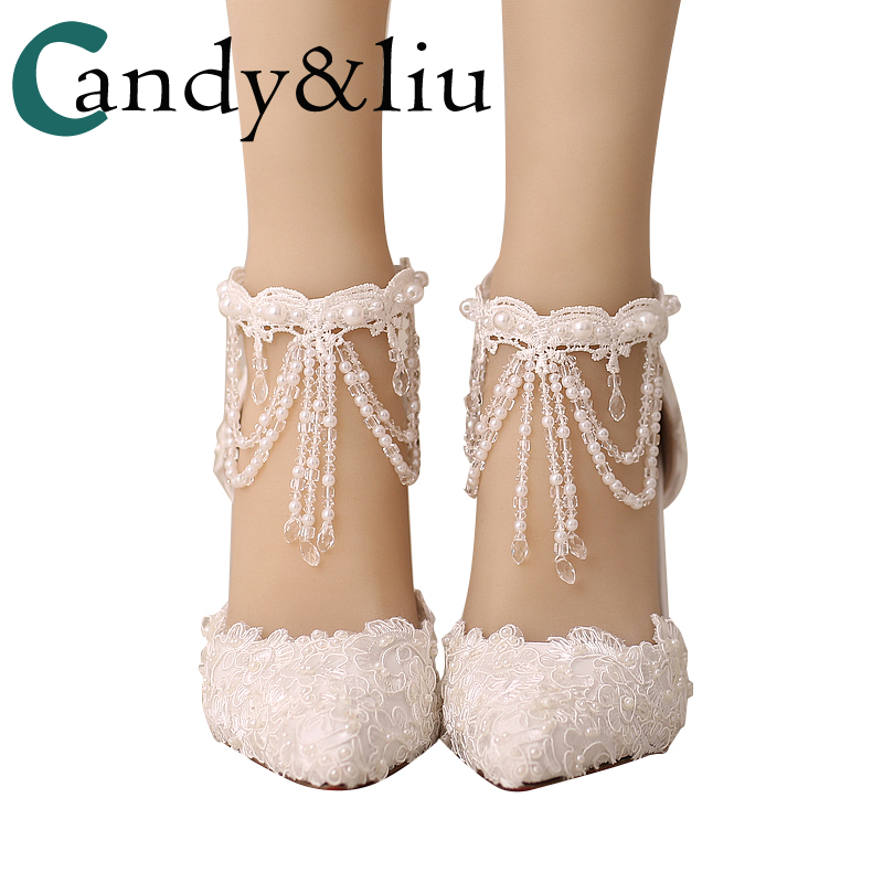 Wedding Shoes Female Sandals Clear Crystal Tassel Pearls Luxury Lace Embroidery White Red Pointed Bride Shoes