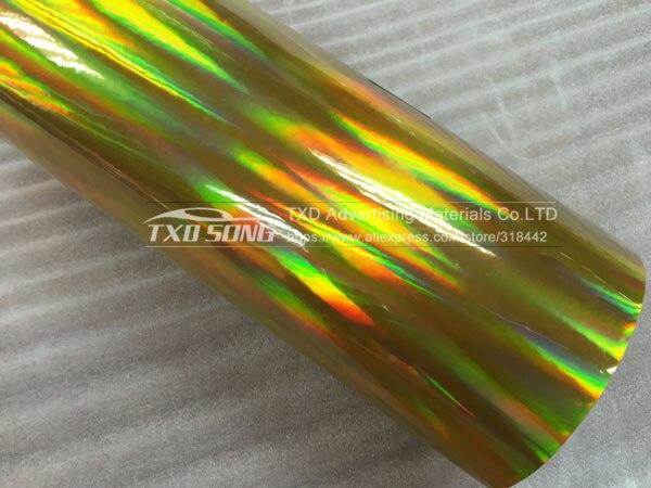 30 см X 152 см/лот голографическая Автомобильная виниловая пленка для украшения кузова автомобиля с воздушными пузырьками, автомобильная наклейка - Название цвета: GOLD