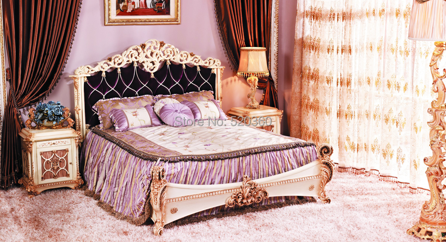 Luxury European Style Woodcarving Bed And Night Table, Bedroom Set