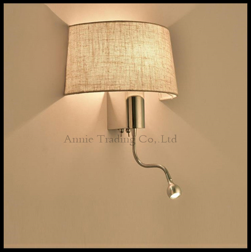 Reading room hotel modern fabric living room bedroom hallway LED bedside lamp switch American Wall light fabric lampshade shade