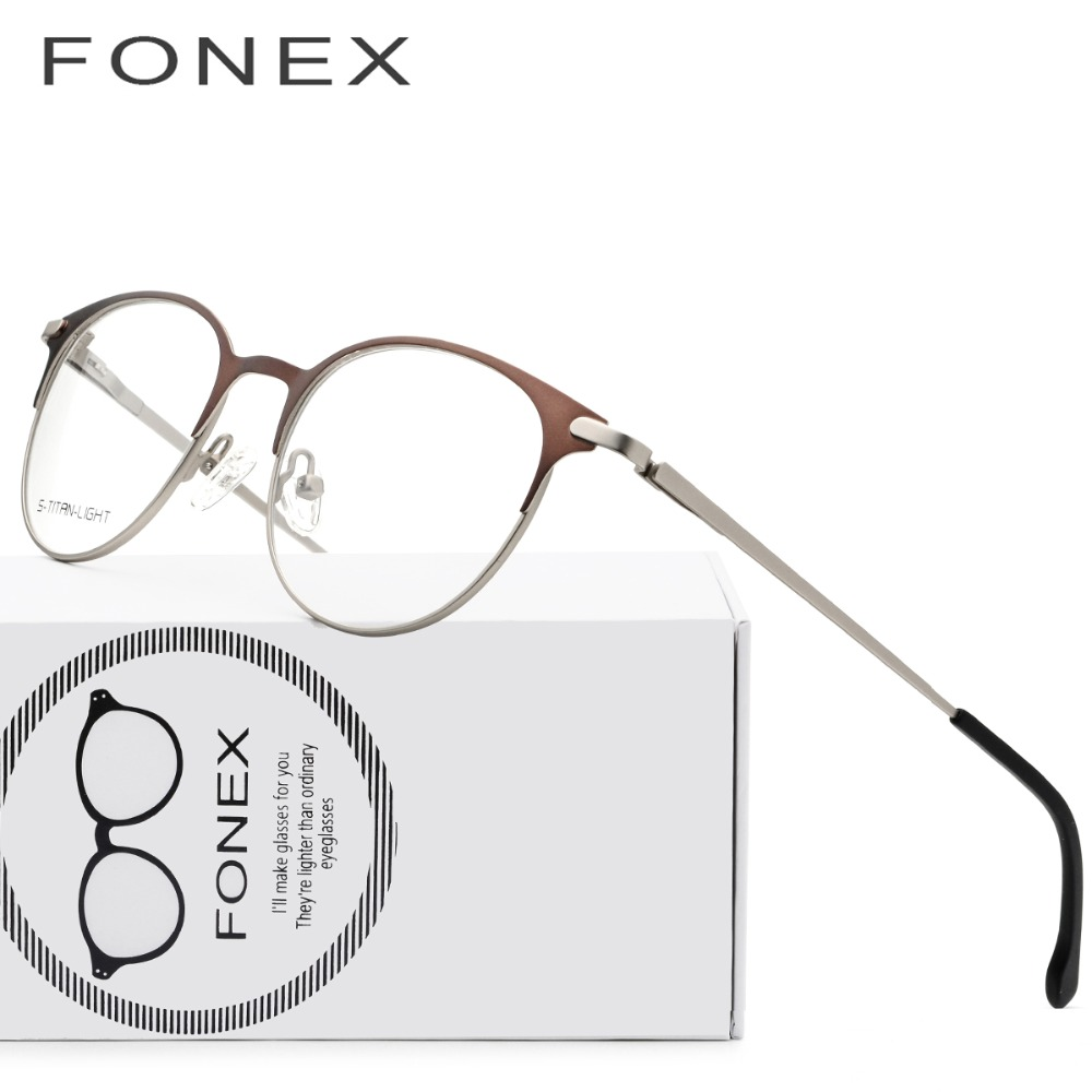 Liga de titânio Óculos de Armação Homens Mulheres Ultraleves Prescrição  Rodada Do Vintage Óculos Retro Frame Ótico Eyewear Sem Parafusos 08befb61ca