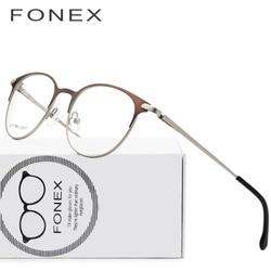 2e96aefe6c8 Titanium Alloy Glasses Frame Men Ultralight Women Vintage Round  Prescription Eyeglasses Retro Optical Frame Screwless Eyewear