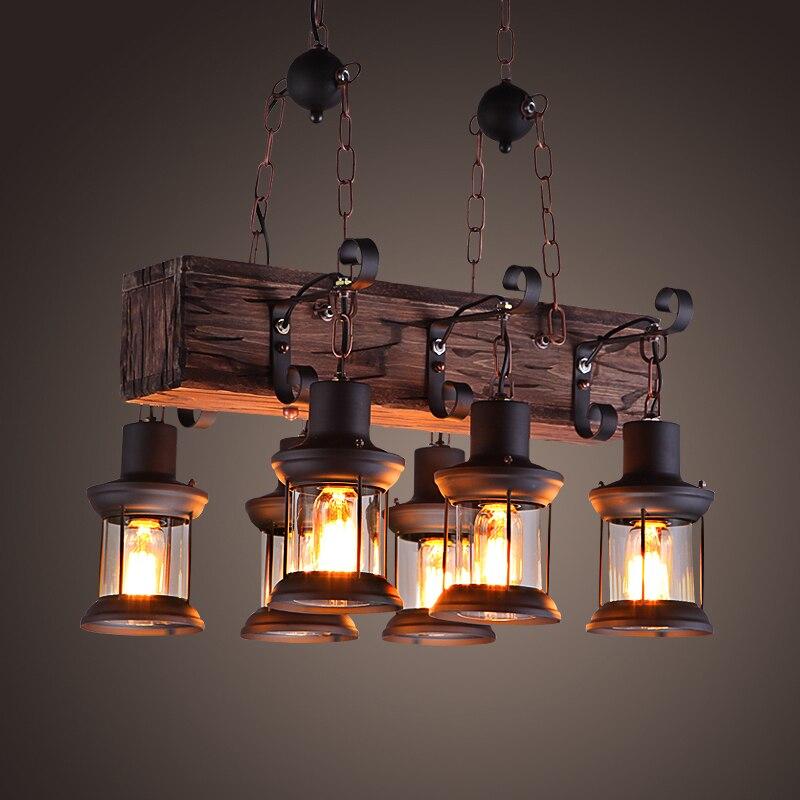 Vintage Loft Pendentif Lumière Forgé Fer Abat-Jour En Verre Pendentif Lampe Cuisine Lumière Suspendus Au Plafond Lampe abajour