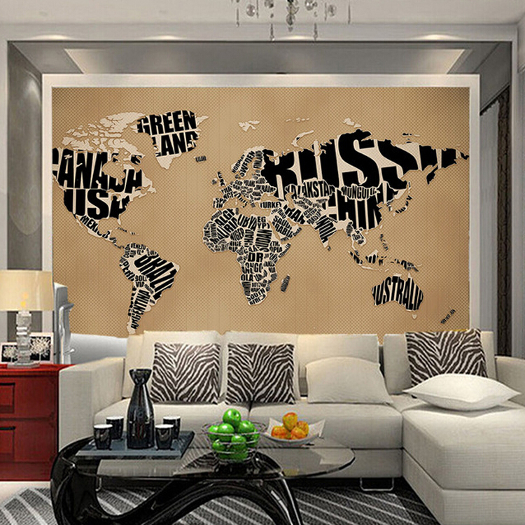 цены Custom Size Photo black world map wallpaper coffee shop restaurant living room bedroom decoration English letter wallpaper mural