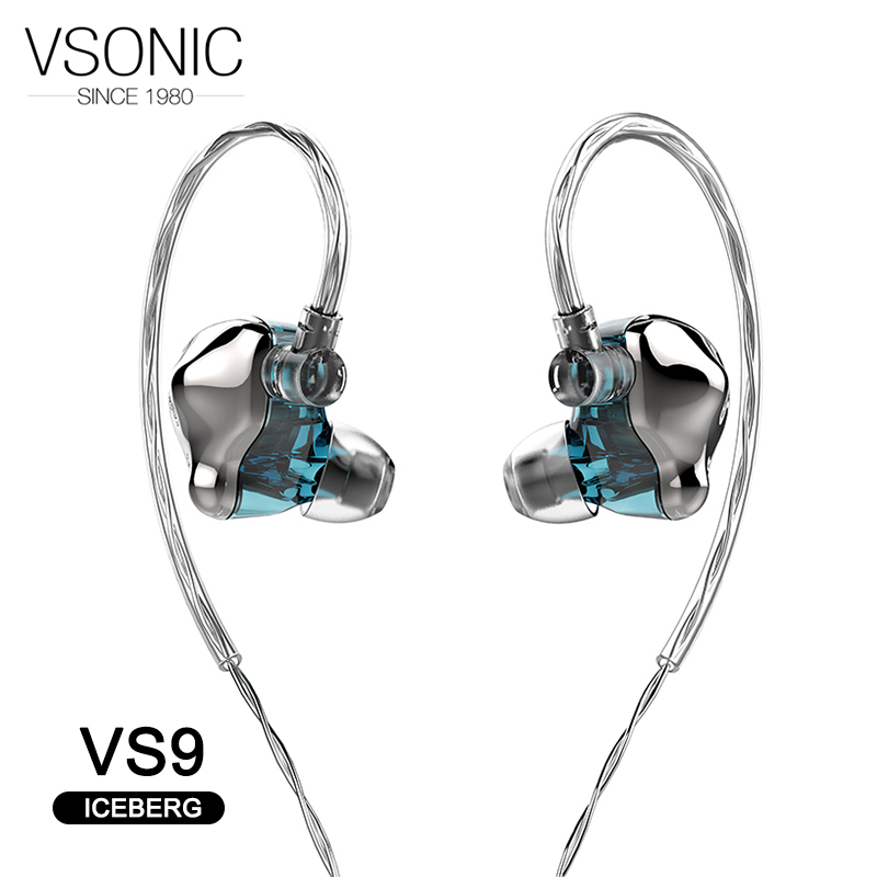 VSONIC VS9 ICEBERG Dynamic Driver HiFi AUDIO In ear Earphone Flagship IEM with 2 pin 0