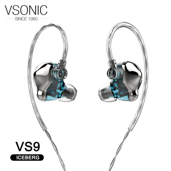 VSONIC VS9 ICEBERG Dynamic Driver HiFi AUDIO In-ear Earphone Flagship IEM with 2 pin 0.78mm Sterling Silver Detachable Cab
