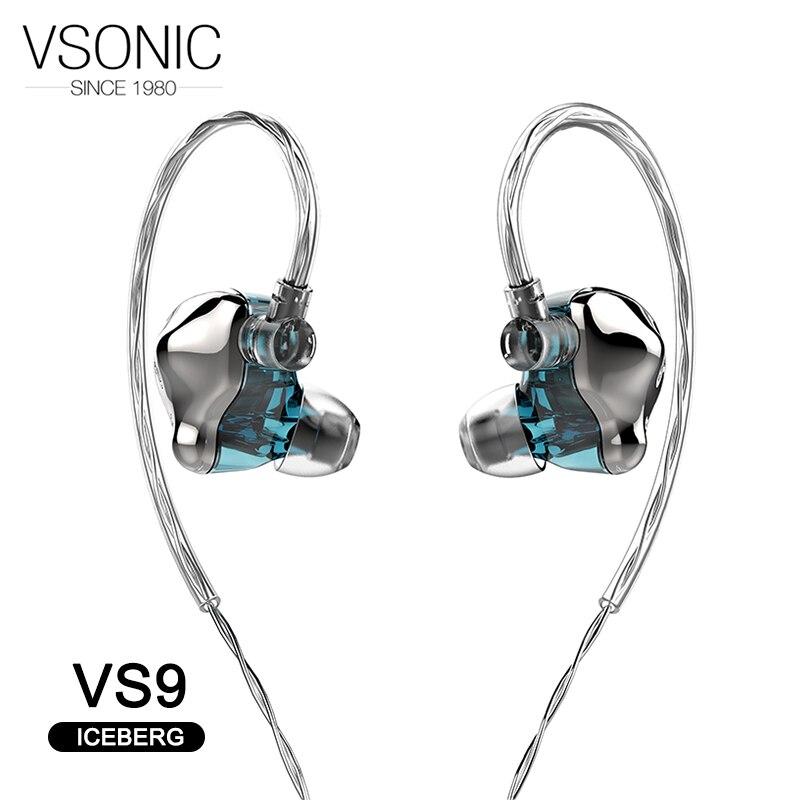 VSONIC VS9 ICEBERG pilote dynamique HiFi AUDIO in ear écouteur phare IEM avec 2 broches 0.78mm argent Sterling cabine détachable-in Écouteurs et casques from Electronique    1