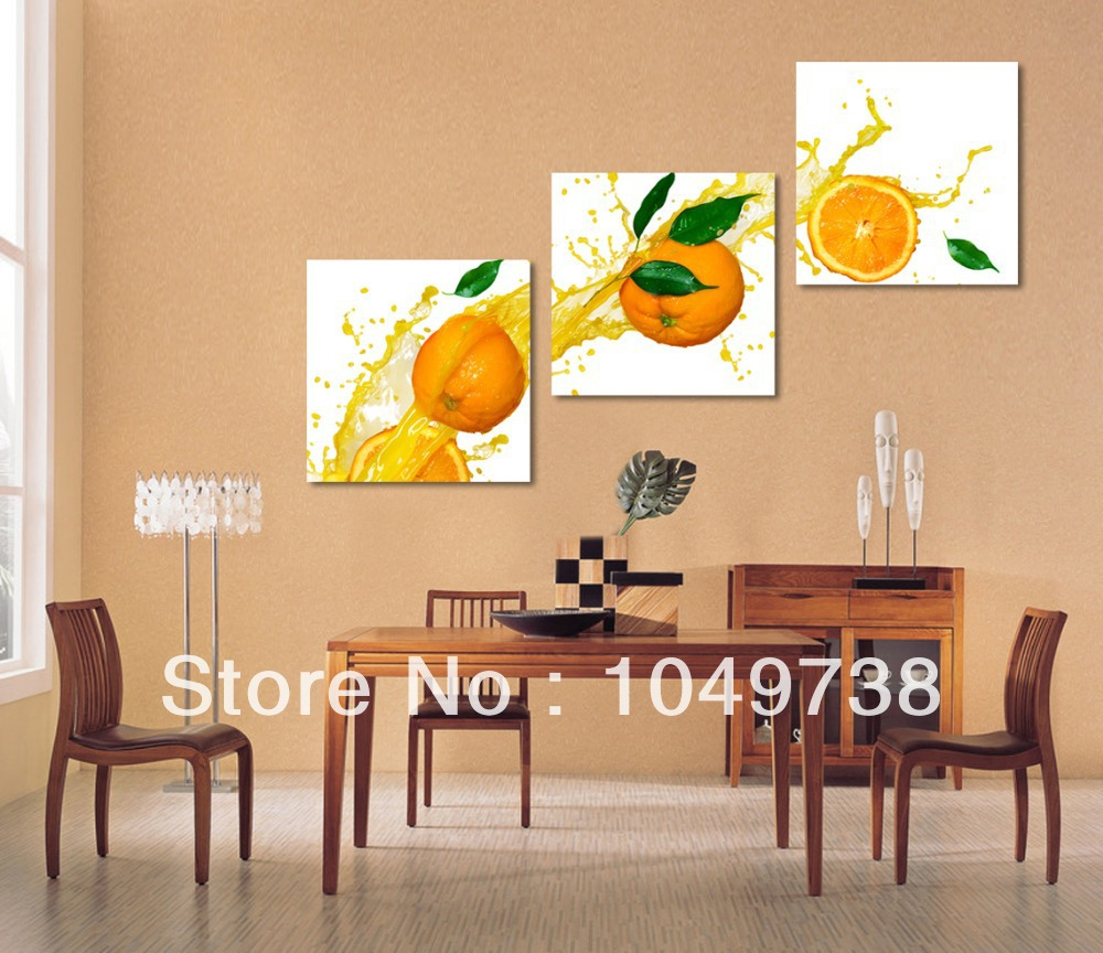 Wall Art For Dining Room: Free Shipping Painting Fruit Wall Panel Orange Fruit
