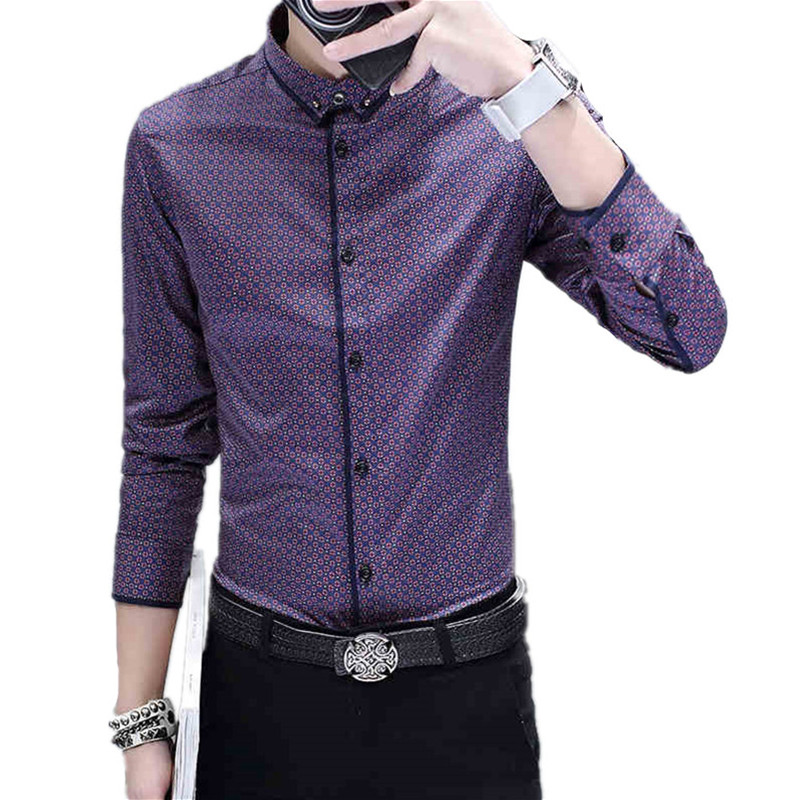 TG6413 Cheap wholesale 2017 new Han edition cultivate one's morality men's long sleeve printed business casual shirt