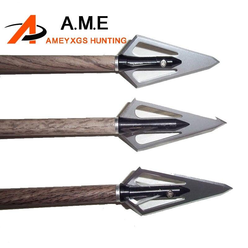 6pcs 100 Grain Vintage Archery Hunting Broadheads Metal Target Practice Sports