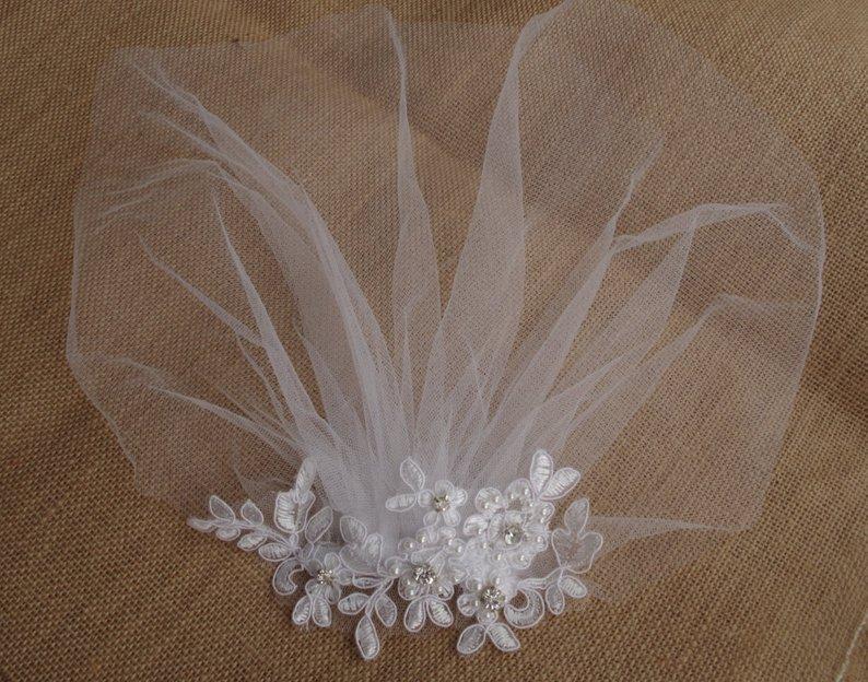 White Bridal Birdcage Veil, Blusher Veil, Headband Bridal Headpiece Lace Fascinator Diamonte Pearls