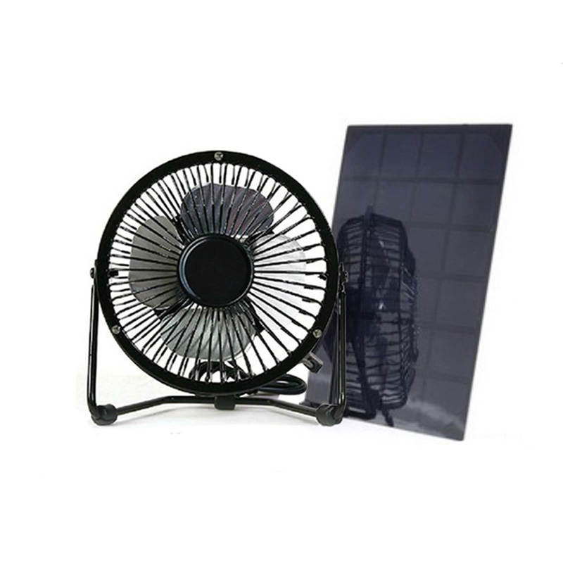 Usb And Solar Mini Fan 4 Inch And 6 Inch Size 5w Solar Panel Aluminum Blade Fan Use For Home Office Outdoor