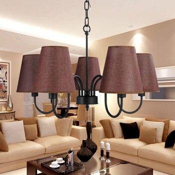 Modern Chandelier Stair Foyer Dining Room Living Room Lamp Black Iron Light Fabric Lampshade Home Lighting E14 110-240V