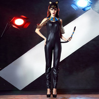 Sexy Persian Cat Girl Anime Cosplay Costume Women Paint Leather Trousers Motorcycle Wear Halloween Purim Party Hat And Jumpsuit
